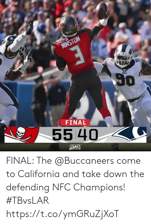 Memes, California, and 🤖: MINSTON  50  Rem  FINAL  55 40 FINAL: The @Buccaneers come to California and take down the defending NFC Champions!  #TBvsLAR https://t.co/ymGRuZjXoT
