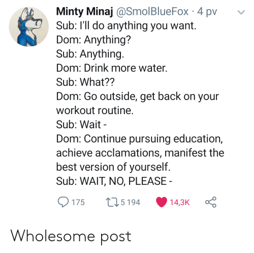 minaj: Minty Minaj @SmolBlueFox 4 pv  Sub: I'll do anything you want.  Dom: Anything?  Sub: Anything.  Dom: Drink more water.  Sub: What??  Dom: Go outside, get back on your  workout routine.  Sub: Wait  Dom: Continue pursuing education,  achieve acclamations, manifest the  best version of yourself.  Sub: WAIT, NO, PLEASE  L15194  14,3K  175 Wholesome post