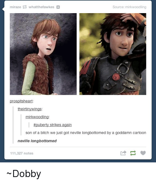 Longbottomed: miraze whatthefawkes  Source: mirkwoodling  prospitsheart  theirtin  mirkwoodling  puberty strikes again  son of a bitch we just got neville longbottomed by a goddamn cartoon  neville longbottomed  111,327 notes ~Dobby