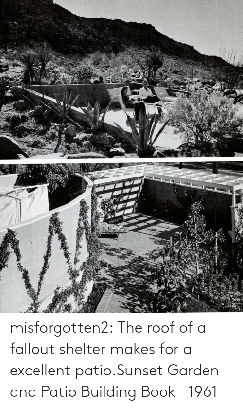 Garden: misforgotten2:  The roof of a fallout shelter makes for a excellent patio.Sunset Garden and Patio Building Book   1961