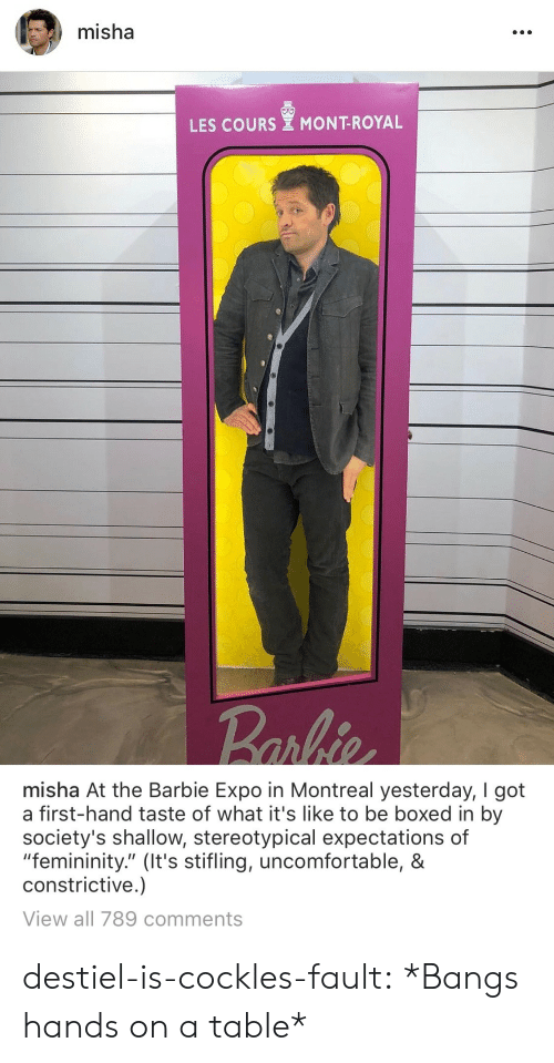 """misha: misha  LES COURS MONT-ROYAL   misha At the Barbie Expo in Montreal yesterday, I got  a first-hand taste of what it's like to be boxed in by  society's shallow, stereotypical expectations of  """"femininity."""" (It's stifling, uncomfortable, &  constrictive.)  View all 789 comments destiel-is-cockles-fault:  *Bangs hands on a table*"""