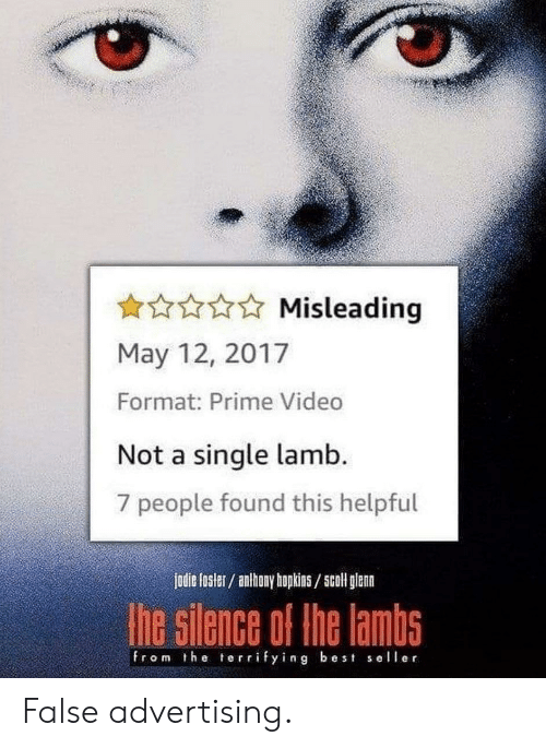 Anthony Hopkins, Best, and Video: Misleading  May 12, 2017  Format: Prime Video  Not a single lamb.  7 people found this helpful  jodie fosler/ anthony hopkins/5coll glenn  he silence of the lambs  from the terrifying best seller False advertising.