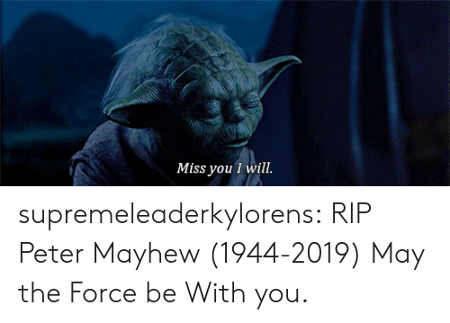 Tumblr, Blog, and Com: Miss you I will. supremeleaderkylorens: RIP Peter Mayhew (1944-2019) May the Force be With you.