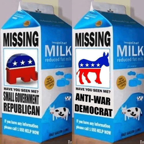 Help, Information, and Fat: MISSING  MISSING  ImageChef  ImageChef  MILK  MILK  reduced fat milk  reduced fat milk  de  UMS  UMS  HAVE YOU SEEN ME?  HAVE YOU SEEN ME?  ANTI-WAR  DEMOCRAT  SMALL OVERNMENT  REPUBLICAN  ifyou have any information  Wyou have any information  please call 1 555 HELP NOW  please call 1 555 HELP NOW  A GALL  ALS GALLN  In  In