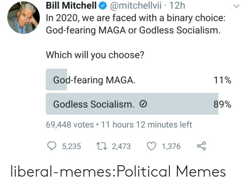 God, Memes, and Tumblr: @mitchellvii 12h  In 2020, we are faced with a binary choice:  God-fearing MAGA or Godless Socialism  Bill Mitchell  Which will you choose?  God-fearing MAGA  11%  Godless Socialism.  89%  69,448 votes 11 hours 12 minutes left  L 2,473  5,235  1,376 liberal-memes:Political Memes