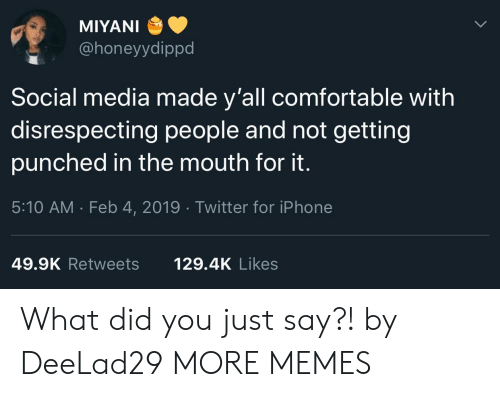 Disrespecting: MIYANI  @honeyydippd  Social media made y'all comfortable with  disrespecting people and not getting  punched in the mouth for it.  5:10 AM . Feb 4, 2019 Twitter for iPhone  49.9K Retweets  129.4K Likes What did you just say?! by DeeLad29 MORE MEMES