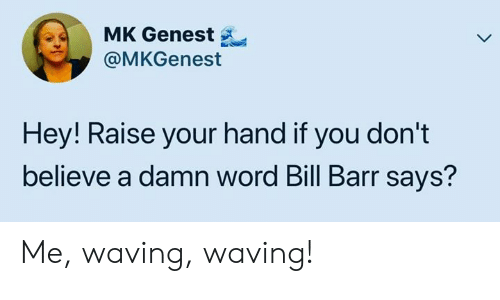 raise your hand if: MK Genest  @MKGenest  Hey! Raise your hand if you don't  believe a damn word Bill Barr says? Me, waving, waving!