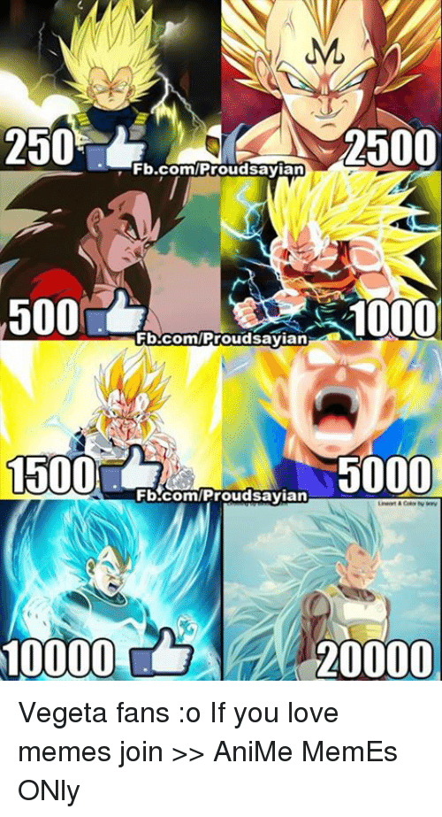 Animals Meme: ML  2500  2500  Fb.com/Proud sayian  500  10000  Fb.com/Proud sayian  1500  5000  Fb.com/Proud sayian  20000 Vegeta fans :o If you love memes join >> AniMe MemEs ONly