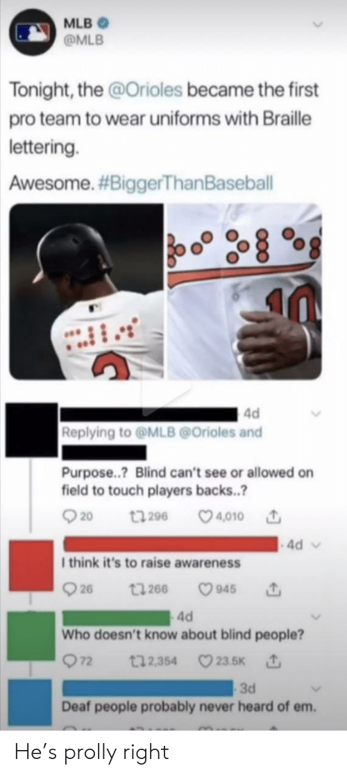 blind: MLB  @MLB  Tonight, the @Orioles became the first  pro team to wear uniforms with Braille  lettering.  Awesome. #BiggerThan Baseball  4d  Replying to@MLB@Orioles and  Purpose..? Blind can't see or allowed on  field to touch players backs..?  t296 4010  20  4d  I think it's to raise awareness  26  945  t266  4d  Who doesn't know about blind people?  72  t12,354 23.5K  3d  Deaf people probably never heard of em. He's prolly right