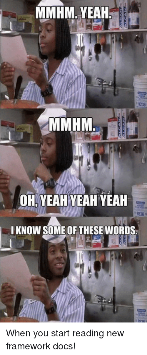 framework: MMHM, YEAH  OH YEAH YEAH YEAH  I KNOW SOME OF THESE WORDS When you start reading new framework docs!
