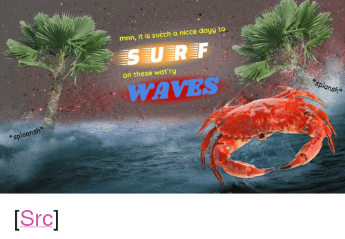 """Reddit, Waves, and Com: mnn, it is succh a nicce dayy to  SURF  on these wat'ry  WAVES  splansh*  *sploonsh* <p>[<a href=""""https://www.reddit.com/r/surrealmemes/comments/8l4bf7/surnfs_upn_dudss/"""">Src</a>]</p>"""