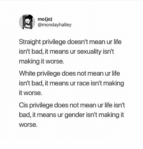 Bad, Life, and Memes: mo(jo)  @mondayhalley  Straight privilege doesn't mean ur life  isn't bad, it means ur sexuality isn't  making it worse  White privilege does not mean ur life  isn't bad, it means ur race isn't making  it worse.  Cis privilege does not mean ur life isn't  bad, it means ur gender isn't making it  worse