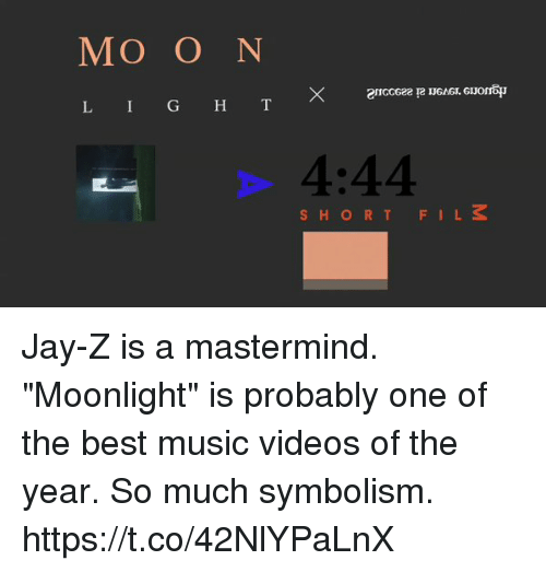 """moonlighting: MO O N  L I G H T  4:44  SHORTFILS Jay-Z is a mastermind. """"Moonlight"""" is probably one of the best music videos of the year. So much symbolism. https://t.co/42NlYPaLnX"""