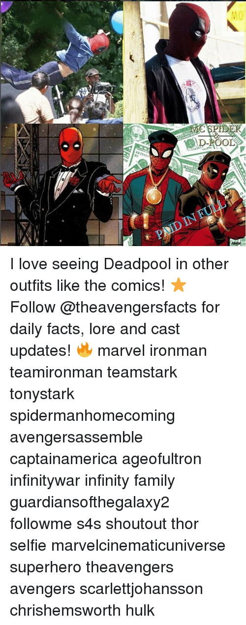 Deadpoole: MO  PNID IN I love seeing Deadpool in other outfits like the comics! ⭐️ Follow @theavengersfacts for daily facts, lore and cast updates! 🔥 marvel ironman teamironman teamstark tonystark spidermanhomecoming avengersassemble captainamerica ageofultron infinitywar infinity family guardiansofthegalaxy2 followme s4s shoutout thor selfie marvelcinematicuniverse superhero theavengers avengers scarlettjohansson chrishemsworth hulk