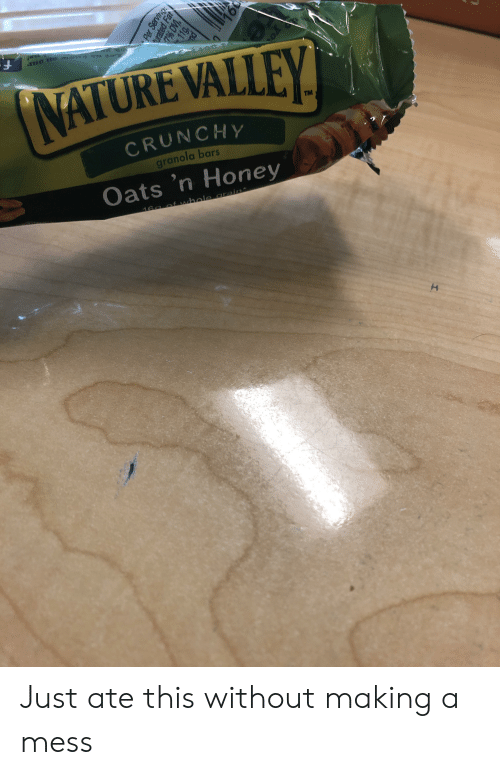 Nature, Fat, and Crunchy: mo ro aot e  NATURE VALLEY  TM  CRUNCHY  granola bars  Oats 'n Honey  16a of whole Crain*  Per Servicig  urated Fat  11g,  19L  I. Just ate this without making a mess