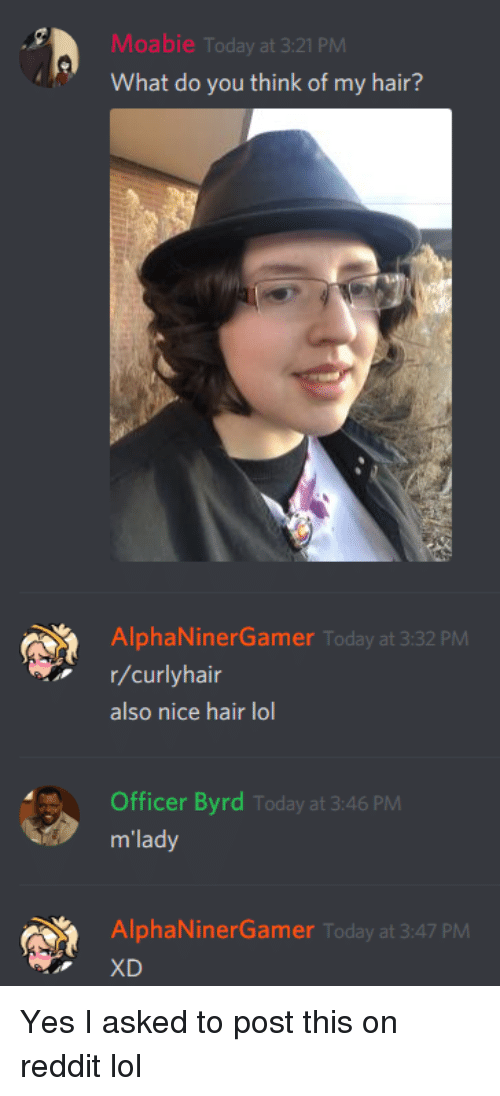 Lol, Reddit, and Hair: Moabie Today at 3:21 PM  What do you think of my hair?  AlphaNinerGamer Today at 3:32 PM  r/curlyhair  also nice hair lol  Officer Byrd Today at 3:46 PM  m'lady  AlphaNinerGamer Today at 3:47 PM  XD