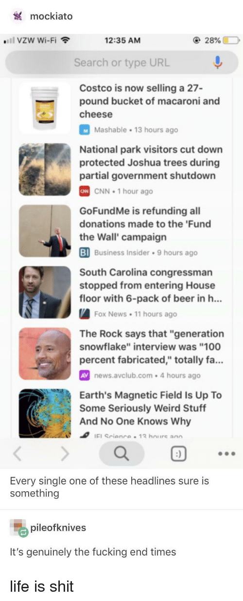"""Anaconda, Beer, and cnn.com: mockiato  """"'11 vzw Wi-Fi  12:35 AM  Search or type URL  Costco is now selling a 27-  pound bucket of macaroni and  cheese  Mashable 13 hours ago  National park visitors cut down  protected Joshua trees during  partial government shutdown  CNN 1 hour ago  GoFundMe is refunding all  donations made to the 'Fund  the Wall' campaign  BI  Business Insider 9 hours ago  South Carolina congressman  stopped from entering House  floor with 6-pack of beer in h..  Fox News. 11 hours ago  The Rock says that """"generation  snowflake"""" interview was """"100  percent fabricated,"""" totally fa...  AV news.avclub.com-4 hours ago  Earth's Magnetic Field Is Up To  Some Seriously Weird Stuff  And No One Knows Why  ao  Every single one of these headlines sure is  something  pileofknives  It's genuinely the fucking end times life is shit"""