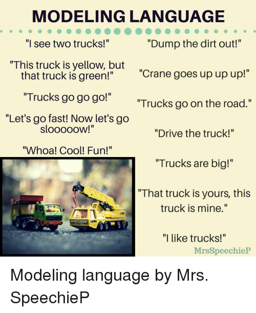"""modeling: MODELING LANGUAGE  """"Dump the dirt out!""""  Il  I see two trucks!  This truck is yellow, but  """"Crane goes up up up!""""  that truck is green!""""  """"Trucks go go go!""""  """"Let's go fast! Now let's go  Trucks go on the road.""""  SloooOOW!  """"Drive the truck!""""  """"Whoa! Cool! Fun!""""  """"Trucks are big!""""  """" That truck is yours, this  truck is mine.""""  AING  """"I like trucks!""""  MrsSpeechieP Modeling language by Mrs. SpeechieP"""