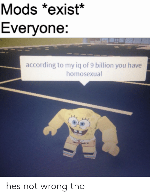 According, Mods, and Billion: Mods *exist*  Everyone:  according to my iq of 9 billion you have  homosexual hes not wrong tho