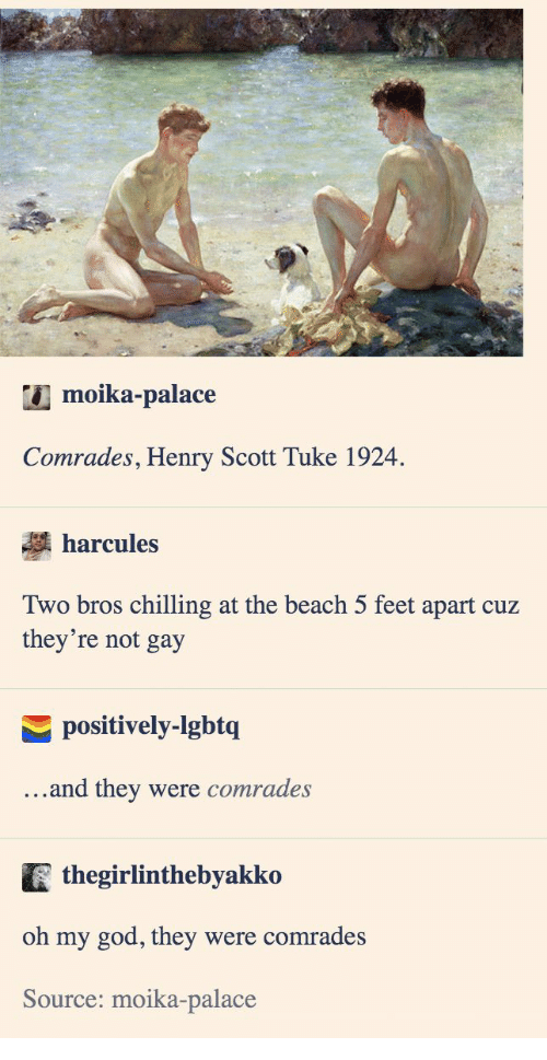 God, Oh My God, and Beach: moika-palace  Comrades, Henry Scott Tuke 1924  harcules  Two bros chilling at the beach 5 feet apart cuz  they're not gay  positively-lgbtq  ...and they  were comrades  thegirlinthebyakko  oh my god, they were comrades  Source: moika-palace