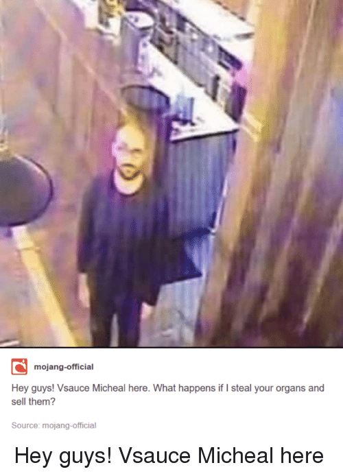 Mojang: mojang-official  Hey guys! Vsauce Micheal here. What happens if I steal your organs and  sell them?  Source: mojang-official Hey guys! Vsauce Micheal here