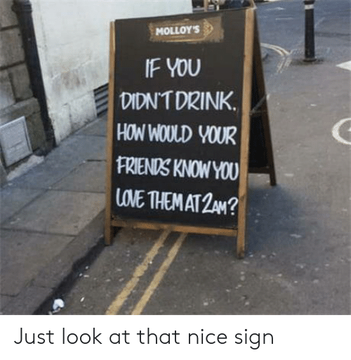 Friends, Love, and Nice: MOLLOYS  IF YOU  DIDNTDRINK.  HOW WOULD VOUR  FRIENDS KNOWYOU  LOVE THEM AT 2 N? Just look at that nice sign