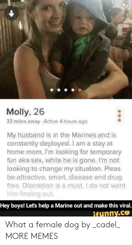 Stay At Home: Molly, 26  33 miles away Active 4 hours ago  My husband is in the Marines and is  constantly deployed. I am a stay at  home mom. I'm looking for temporary  fun aka sex, while he is gone. I'm not  looking to change my situation. Pleas  be attractive, smart, disease and drug  free. Discretion is a must, I do not want  him finding out  Hey boys! Let's help a Marine out and make this viral.  ifunny.co What a female dog by _cadel_ MORE MEMES