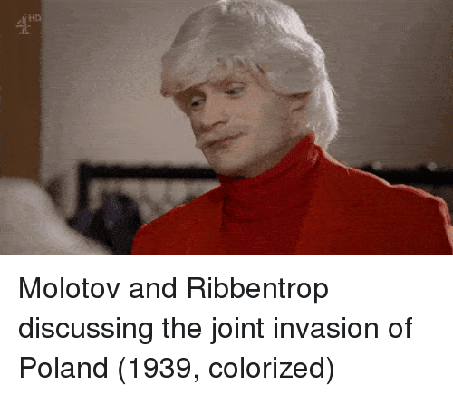 Poland, Invasion, and Molotov: Molotov and Ribbentrop discussing the joint invasion of Poland (1939, colorized)