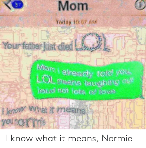 Today, Dank Memes, and Normie: Mom  37  Today 10:57 AM  Your father lat ded  already told you,  means laughing  loud not lots of tove  I know What it means I know what it means, Normie