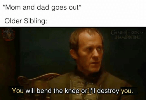Dad, Game of Thrones, and Game: Mom and dad goes out*  Older Sibling:  GAME of THRONES  SHAMEPOSTING  You will bend the knee or lll destroy you.