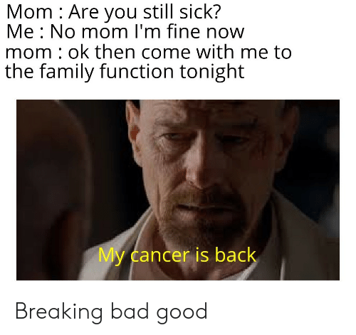 Bad, Breaking Bad, and Family: Mom Are you still sick?  Me No mom I'm fine now  mom : ok then come with me to  the family function tonight  My cancer is back Breaking bad good
