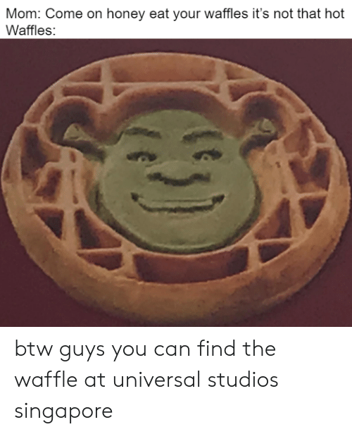 waffles: Mom: Come on honey eat your waffles it's not that hot  Waffles: btw guys you can find the waffle at universal studios singapore