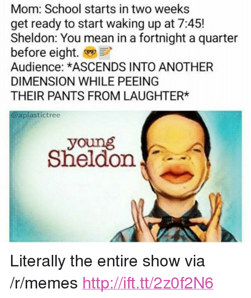 """Young Sheldon: Mom: School starts in two weeks  get ready to start waking up at 7:45!  Sheldon: You mean in a fortnight a quarter  before eight.  Audience: *ASCENDS INTO ANOTHER  DIMENSION WHILE PEEING  THEIR PANTS FROM LAUGHTER*  @aplastictree  young  Sheldon <p>Literally the entire show via /r/memes <a href=""""http://ift.tt/2z0f2N6"""">http://ift.tt/2z0f2N6</a></p>"""