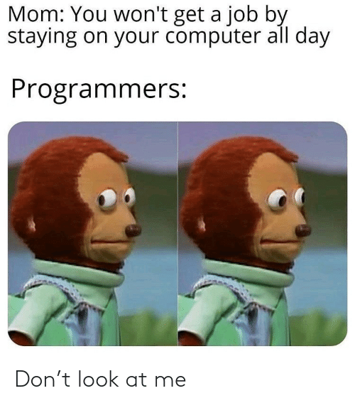job: Mom: You won't get a job by  staying on your computer all day  Programmers: Don't look at me