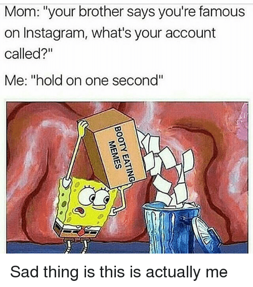 """Memes, 🤖, and Brothers: Mom: """"your brother says you're famous  on Instagram, what's your account  called?""""  Me: """"hold on one second"""" Sad thing is this is actually me"""