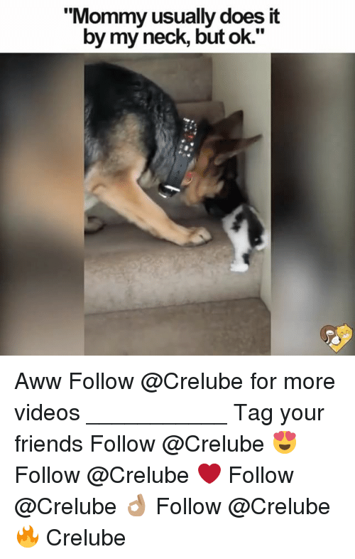 "Aww, Friends, and Memes: ""Mommy usually does it  by my neck, but ok."" Aww Follow @Crelube for more videos ___________ Tag your friends Follow @Crelube 😍 Follow @Crelube ❤ Follow @Crelube 👌🏽 Follow @Crelube 🔥 Crelube"