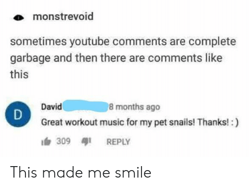 Music, youtube.com, and Smile: monstrevoid  sometimes youtube comments are complete  garbage and then there are comments like  this  8 months ago  David  Great workout music for my pet snails! Thanks!:)  309 REPLY This made me smile