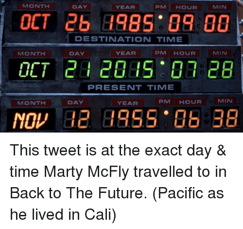 Marty McFly: MONTH  DAY  PM HOUR  MIN  YEAR  OCT 26 B985 09 00  DESTINATION TIME  PM HOUR  MIN  MONTH  YEAR  DAY  PRESENT TIMIE  MIN  PM HOUR  DAY  MONTH  YEAR This tweet is at the exact day & time Marty McFly travelled to in Back to The Future. (Pacific as he lived in Cali)