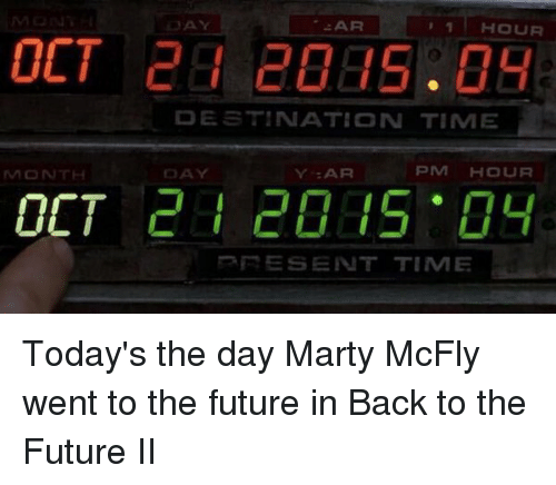 Marty McFly: MONTH  OCT  AR  1 HOUR  DESTINATION TIME  PM HOUR  Y :AR  RE SENT TIMIE Today's the day Marty McFly went to the future in Back to the Future II