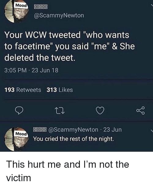 """Facetime, Funny, and Mood: Mood  @ScammyNewton  Your WCW tweeted """"who wants  to facetime"""" you said """"me"""" & She  deleted the tweet.  3:05 PM 23 Jun 18  193 Retweets 313 Likes  @ScammyNewton 23 Jun  Mood  You cried the rest of the night. This hurt me and I'm not the victim"""