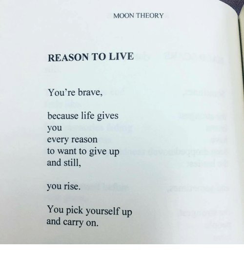 Reason To Live: MOON THEORY  REASON TO LIVE  You're brave,  because life gives  you  every reason  to want to give up  and still  you rise  You pick yourself up  and carry on.