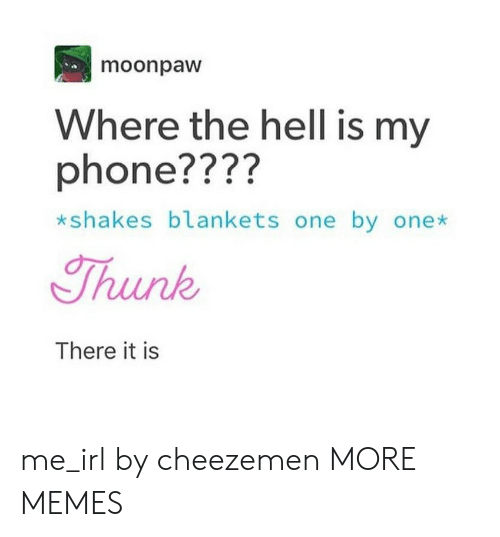 There It Is: moonpaw  Where the hell is my  phone????  *sh  akes blankets one by onex  Thunk  There it is me_irl by cheezemen MORE MEMES