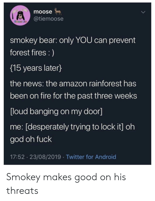 moose: moose  @tiemoose  temoore  smokey bear: only YOU can prevent  forest fires :)  {15 years later}  the news: the amazon rainforest has  been on fire for the past three weeks  [loud banging on my door]  me: [desperately trying to lock it] oh  god oh fuck  17:52 23/08/2019 Twitter for Android Smokey makes good on his threats
