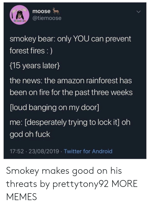 moose: moose  @tiemoose  temoore  smokey bear: only YOU can prevent  forest fires :)  {15 years later}  the news: the amazon rainforest has  been on fire for the past three weeks  [loud banging on my door]  me: [desperately trying to lock it] oh  god oh fuck  17:52 23/08/2019 Twitter for Android Smokey makes good on his threats by prettytony92 MORE MEMES