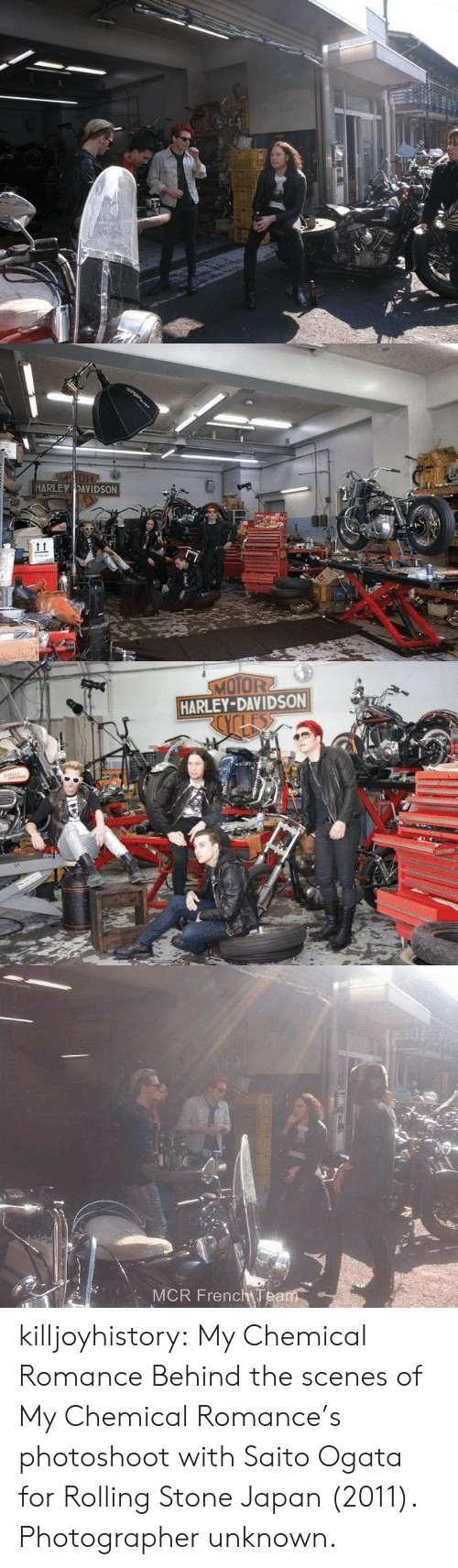 Tumblr, Blog, and Japan: MOR  HARLEY DAVIDSON   MOTOR2  HARLEY-DAVIDSON  os   MCR FrenchTeam killjoyhistory:  My Chemical Romance Behind the scenes of My Chemical Romance's photoshoot with Saito Ogata for Rolling Stone Japan (2011). Photographer unknown.