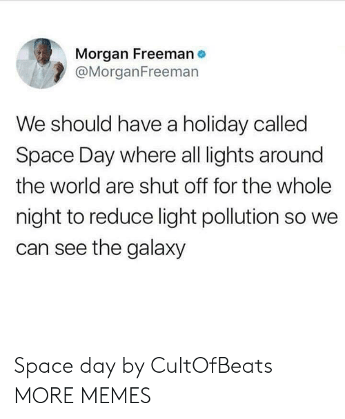 Dank, Memes, and Morgan Freeman: Morgan Freeman  @MorganFreemarn  We should have a holiday called  Space Day where all lights around  the world are shut off for the whole  night to reduce light pollution so we  can see the galaxy Space day by CultOfBeats MORE MEMES