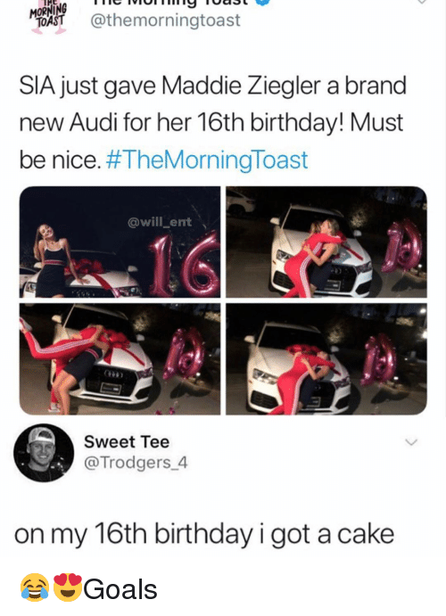 Birthday, Memes, and Audi: MORNİNG vorm  %AST @themorningtoast  THE  nie  SIA just gave Maddie Ziegler a brand  new Audi for her 16th birthday! Must  be nice. #TheMorningToast  @will_ent  Sweet Tee  @Trodgers 4  on my 16th birthday i got a cake 😂😍Goals
