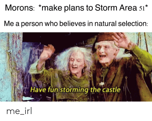 The Castle, Irl, and Me IRL: Morons: *make plans to Storm Area 51*  Me a person who believes in natural selection:  Have fun storming the castle me_irl