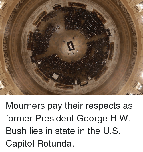 Memes, George H. W. Bush, and 🤖: Morry Gash via AP Mourners pay their respects as former President George H.W. Bush lies in state in the U.S. Capitol Rotunda.