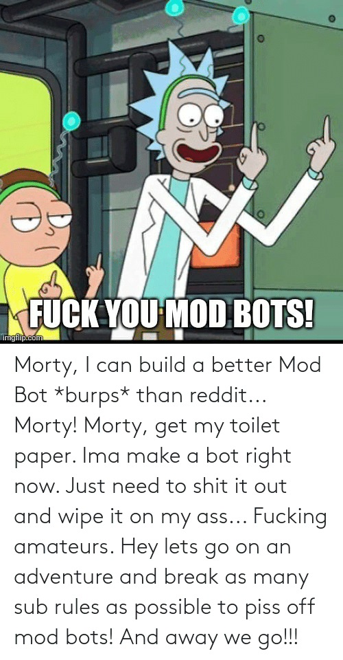 build a: Morty, I can build a better Mod Bot *burps* than reddit... Morty! Morty, get my toilet paper. Ima make a bot right now. Just need to shit it out and wipe it on my ass... Fucking amateurs. Hey lets go on an adventure and break as many sub rules as possible to piss off mod bots! And away we go!!!